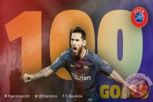 Messi Cetak Gol ke-100 di Eropa