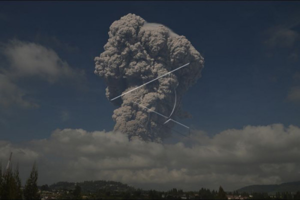 Senin pagi, Sinabung erupsi besar