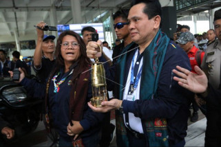 Kirab api obor Asian Games Sumut kondusif