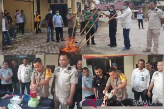 Kapolres Tanjungbalai pimpin pemusnahan tiga jenis narkotika